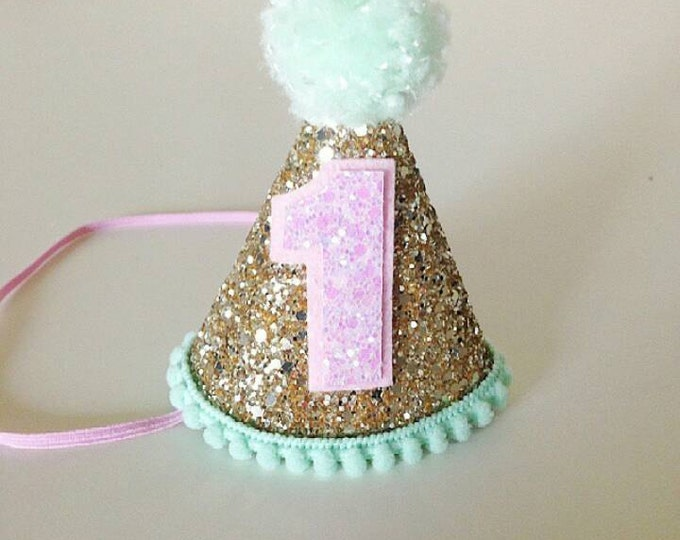 Party Hat Gold Pink and Mint |  First Birthday Glitter Party Hat | Cake Smash | Ready to Ship