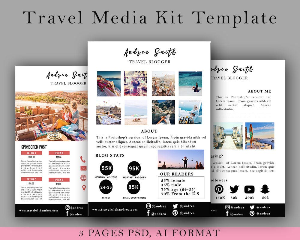 Fashion media kit template 3 page blog media press kit travel media kit template 3 page blog media press kit template blogger media kit pronofoot35fo Image collections