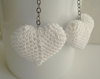 Heart Earrings - White Heart Long Dangle Earrings - Bride earrings - Wedding earrings - white crochet earrings - girlfriend gift idea