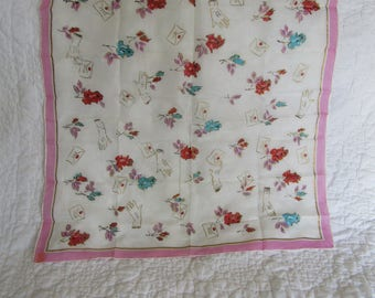 Vintage Scarf Roses NOS Rayon and Silk