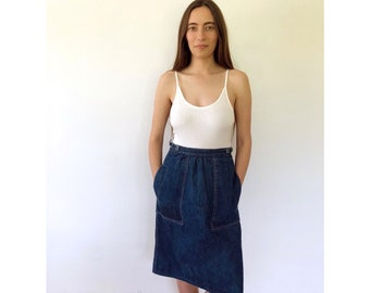 Los Feliz Wrap Skirt // vintage 70s denim jean cotton dress boho ethnic hippie festival gypsy sun high waist mini 1970s hippy 80s // XS/S