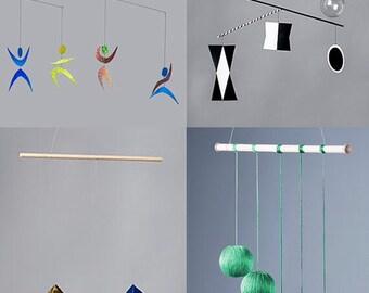4 Montessori visuel Mobiles-Le Munari, l'octaèdre, Gobbi et Dancer mobile (noir libre et des cartes PDF d'art blanches)