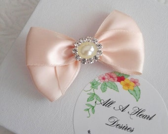 "Blush Satin Hair Bow with Rhinestone and Pearl Center, Sparkle Flower Girl Hair Bow, 2.5"" Hair Bow, pageant Bow"