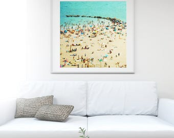 "Turquoise Beach Photography // Large Scale Photography // Beach People Aerial Print // Aerial Beach Photography ""Coney Island Beach II"""