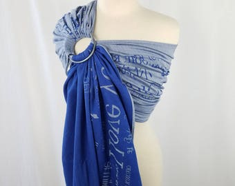 Woven Organic Cotton Tussah Ring Sling Wrap Conversion from DIDYMOS Love Blue - Newborn, Baby, Toddler Carrier - Hybrid Shoulder