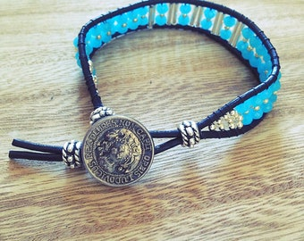 Wrap bracelet women, leather, Crystal button, black, turquoise, blue, silver, boho, gift, Bohemian, made with love