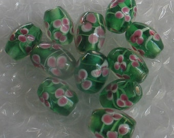 SALE 11 Green and Pink Floral 10x15mm Oval Glass Beads