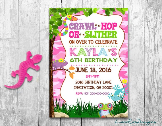 Reptile birthday invitation creepy crawly invitation girl filmwisefo