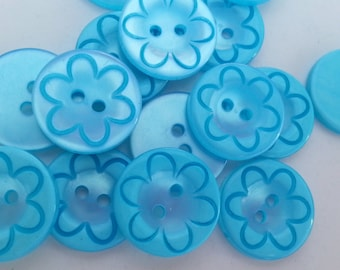 """16 Teal Inside Flower Round Buttons Size 11/16""""."""