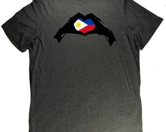 Philippines Heart Hands Interlocking Flag Pride T Shirt