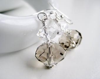 Beige earrings, greige Swarovski drops, crystal jewelry stores, neutral, smoky earrings, tan accessories for women