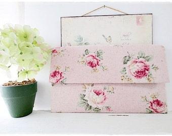 Bridesmaids large envelope clutch pink rose clutch evening purse
