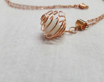 Crystal Rose gold pendant - white