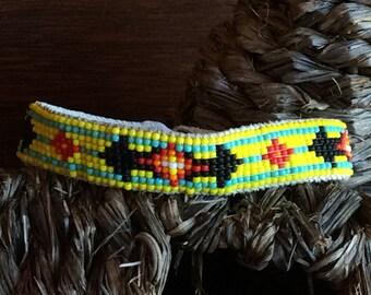 Beaded anklet, beadwork, anklet, yellow anklet, men's anklet, women's anklet