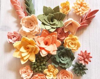Wool Felt Succulents and Felt Flowers - Spring - Blush Pink - Create Headbands, DIY Wreaths, Garland, Vertical Garden, Baby Shower, Wedding