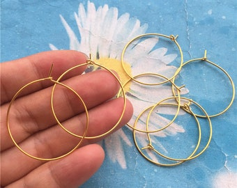 Promotion sale --20pairs (40pcs)30mm Gold plated  round ear hoops/earring hoops charms findings