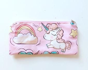 UNICORN Pencil pouch - Zip pouch - Unicorn Pencil case - wallet- School bag - Zipper pouch - clutch-Womens wallet- make up bag