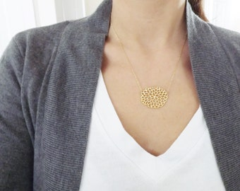 Gold Flower Necklace - Gold Mum - 14k Gold filled Chain