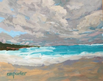 Seascape painting, original painting, art and collectibles, Puerto Rico, beach decor, acrylic painting, modern impressionist, small painting