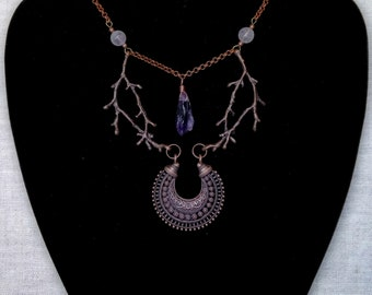Ethnic Tribal Wicca Necklace Moon Lunar Phases Necklace Statement Pendant Branch Gothic Witch Boho Forest Magic Pagan Raw Amethyst Crystal