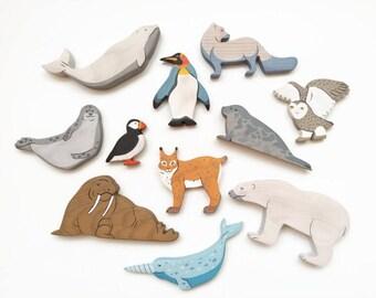 Arctic Animals set (11pcs) Nordic toys North Polar animals toys Waldorf nature table Toddler toys