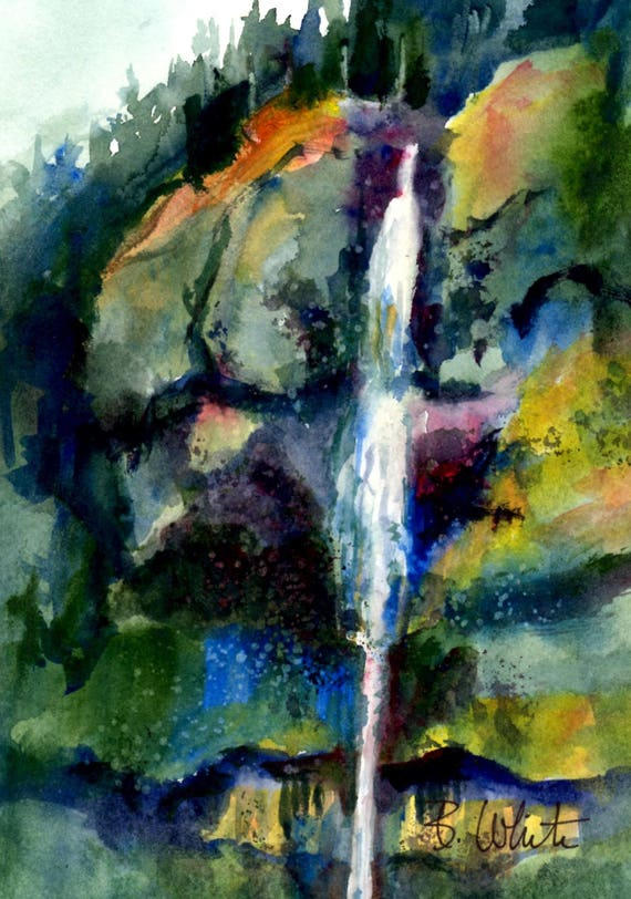 Gorge Waterfall - original watercolor by Bonnie White - 5x7 matted to 8x10