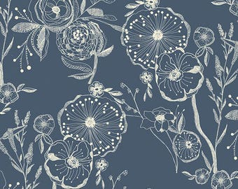 Millie Fleur - Line Drawings Bluing by Bari J. for Art Gallery Fabrics-Navy Flaral Fabric