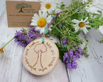 "Natural Wood and Hemp Keyring - ""Not all those who wander are lost"" - Wanderlust - Rustic Wood Slice - Natural Hemp - Colourful - Home Decor"
