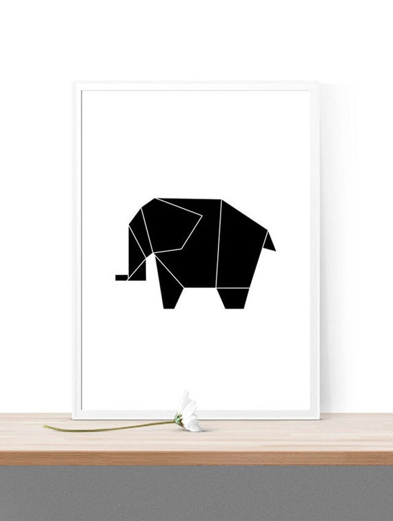 Printable Origami Elephant Home Decor Nursery Print Instant Download Kids Room Black And White