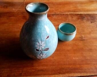 Vintage Celadon Ceramic Sake Set, Ichi Japan, Ichi Pottery, celadon pottery, Celadon ceramics,  made in Japan, vintage Japanese Pottery