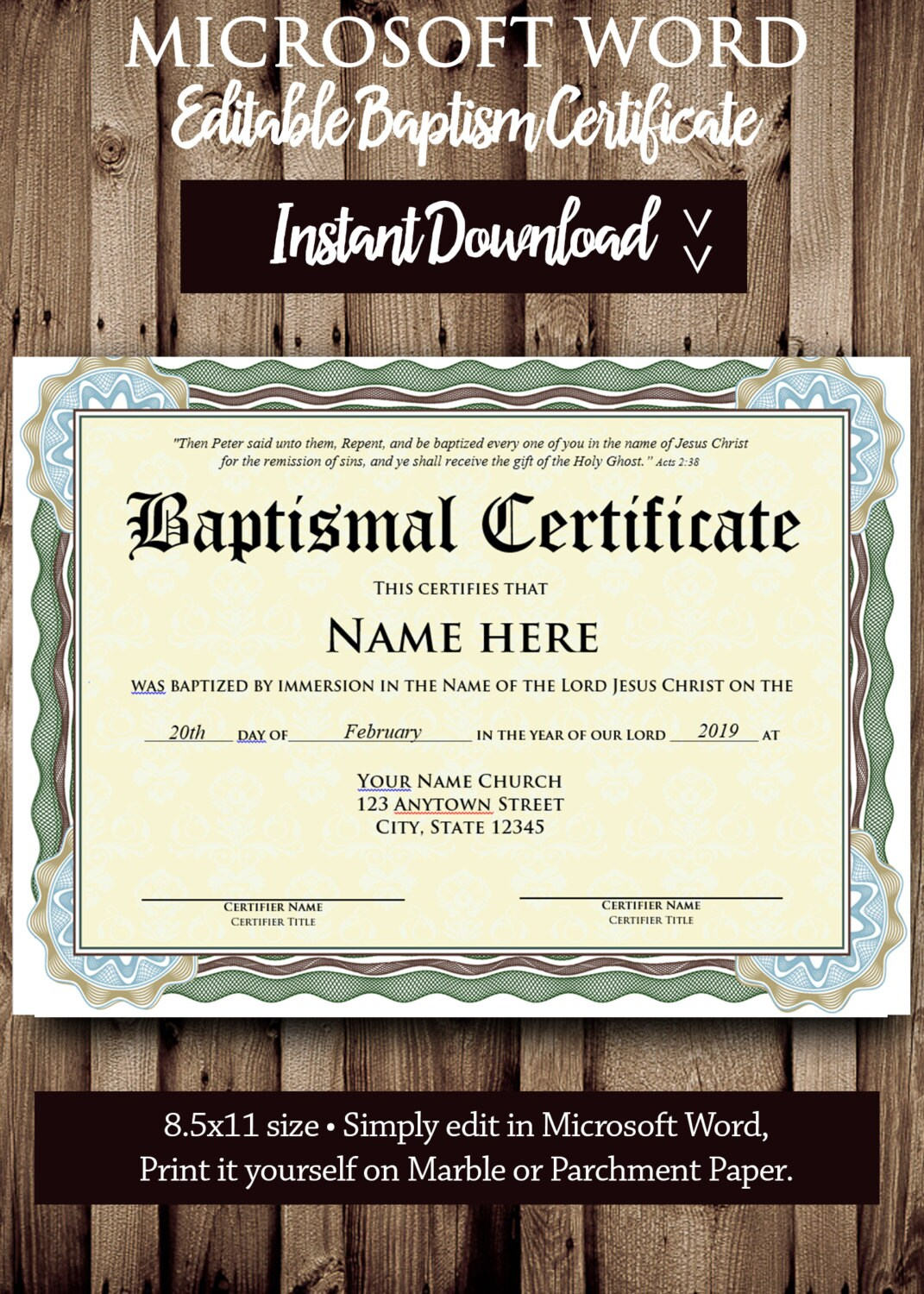 Baptism certificate template microsoft word editable file zoom xflitez Image collections