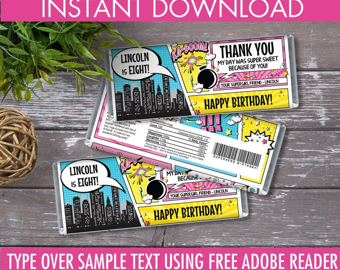 Supergirl Candy Bar Wrappers - Supergirl Favor, Chocolate Label, Supergirl Party, Superhero | Editable Text - Instant Download PDF Printable