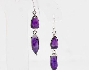 Amethyst Earrings, 925 Silver Earrings, Purple Gemstone Earrings, Cabochon Earrings, Bezel Set Earrings, Simple Earrings, Dailywear Earrings