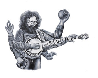 Jerry Garcia x Durga Acrylic Painting