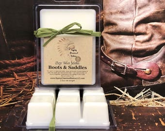 Boots & Saddles - Leather  - Soy Wax Tarts - Leather Candle Tart - Leather Lover Gift - Scented Soy Candle  Wax Melt - Housewarming - Gift