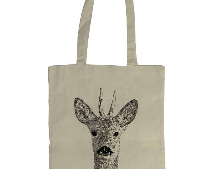 Roebuck Deer Stag Wildlife Original Line Drawing Illustrated Graphic Tote Bag. Natural Cream.