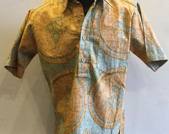 """Men""""s 1960's Hawaiian Shirt """"Surf Line"""" 3/4 Button Front with Wooden Buttons"""