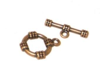 14 x 12mm Copper Toggle Clasp