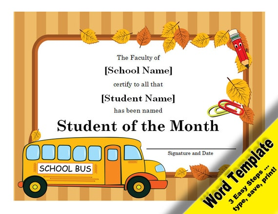 Student of the month award editable word template printable for Student certificate templates for word