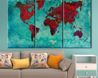 Red World Map, Large world map, World map canvas art print, World Map Canvas, World map wall art, Wall Art World Map, World map on canvas