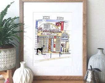 Paris Restaurant - Ink, watercolour and collage illustration