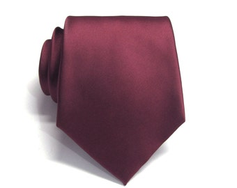 Mens Tie. Maroon Burgundy Silk Necktie With *FREE* Matching Pocket Square Set