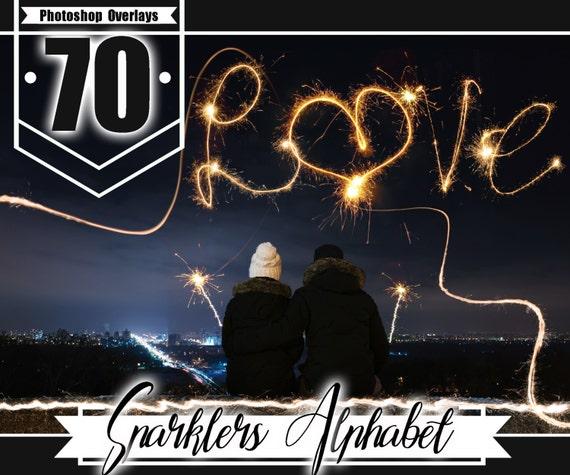 70 Sparklers Alphabet Photoshop Overlays Long Exposure Layer