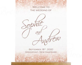 Wedding Welcome Poster, Rose Gold Sparkles (18x22): Text-Editable in Microsoft® Word, Printable Instant Download
