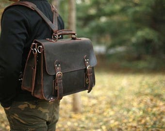 Brown Leather Messenger bag/ Leather Backpack/ Shoulder Bag/ Leather Briefcase / Leather School Bag/ Leather Mens Bag