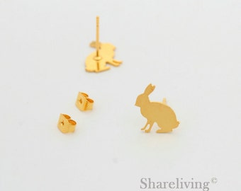 4pcs Rabbit Stud Earring, Gold Plated Post Earring Dual-used Bunny Earring - ED053B