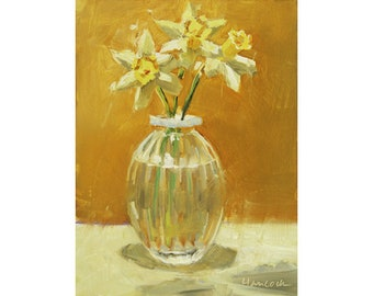First Daffodils, Spring Bouquet, Daffodils in a Glass Vase, Yellow Bouquet