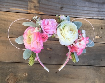 Pretty in Pink, Minnie Mouse Ears, Floral Minnie Ears, Wire Minnie Ears, Mickey Ears, Minnie Ears, flexible wire, pink floral ears