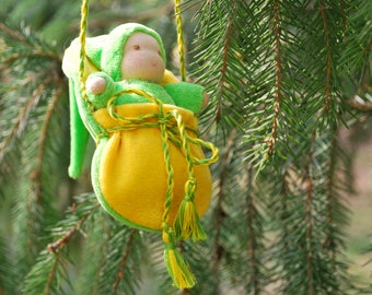 Waldorf Doll, Necklace Doll, Doll in a pouch, Pocket doll, Waldorf baby, Waldorf toy, Steiner doll, Doll Waldorf, Doll in the bag, Tiny doll