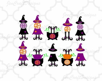Halloween Witch Design #2 Witch Legs in Cauldron Monogram Frame Digital Clipart and Cut File Png SVG EPS DXF Instant Download